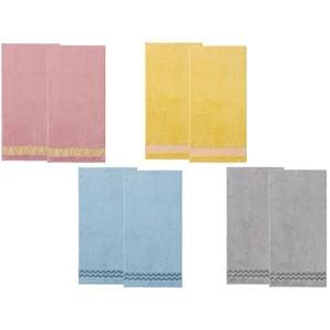 MIOMARE® Handtücher, 2 Stück, 50 x 100 cm, dekorative Bordüre, aus reiner Baumwolle
