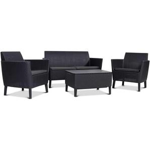 JUSTyou Antigua Set Sitzgruppe Sitzgarnitur Esszimmergarnitur  Graphit Grau