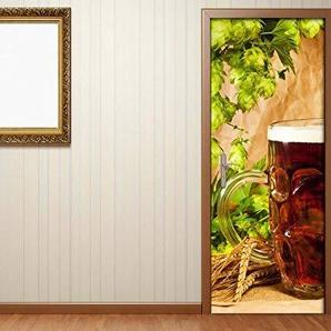 Türaufkleber Bier Glas Weizen Gewürze Beruf Brauerei Tür Bild Türposter Türfolie Türtapete Poster Aufkleber 15A097, Türgrösse:90cmx200cm