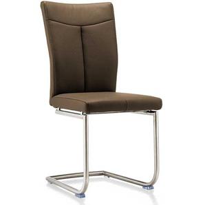 Freischwinger Stühle in Dunkelbraun Echtleder hoher Lehne (2er Set)
