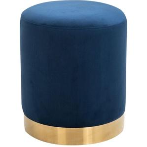 Hocker OMERO Samtbezug in blau