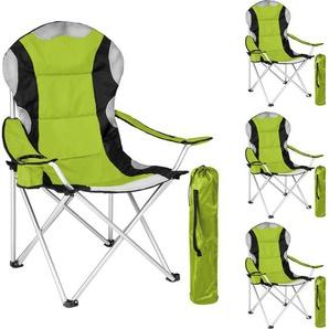 4 Campingstühle mit Polsterung - Klappstuhl, Strandstuhl, Klapphocker - grün - TECTAKE