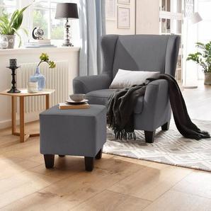 Home affaire Sessel mit Hocker im Set »Chilly« mit Federkern-Polsterung, in Karo + Unifarben, grau, Microfaser