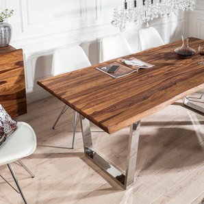 Massiver Baumstamm Esstisch MAMMUT 200cm Sheesham 3,5cm Tischplatte Baumtisch