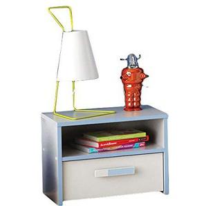 Nachtkommode weiß / blau Nachttisch Nachtkonsole Nachtschrank Nachtkästchen Nako Jungen Kinderzimmer Jugendzimmer