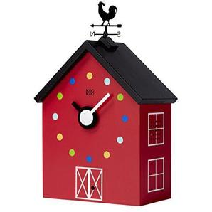 KOOKOO RedBarn Large Bauernhaus Uhr mit 12 Tierstimmen, Einem Hahn und Einer drehenden Wetterfahne, mit Lichtsensor, aus MDF Holz, für Kinder ab 6 Jahre