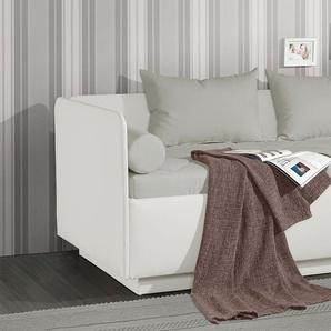 Schlafsofa weiß mit Bettkasten und Lattenrost 120x200 cm - Eriko