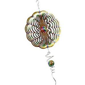 FLAMEER Windspinner Windspiel Silver in Verschiedenen Muster, aus Edelstahl, mit Spiralem Kugel - Blumen