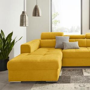 Trendmanufaktur Ecksofa, gelb, Recamiere links, B/H/T: 275x47x58cm, hoher Sitzkomfort