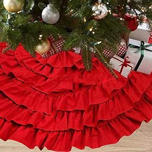 NIGHT-GRING 127cm rote Leinwand Weihnachtsbaumrock Christbaumdecke Weihnachts Dekorationen-Weihnachtsbaumdecke