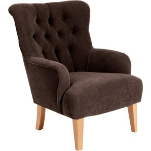 Max Winzer® Chesterfield-Sessel »Bradley«, mit edler Knopfheftung, braun, Luxus-Microfaser