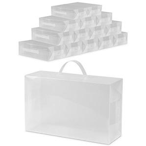 Universal Aufbewahrungsbox 15 Stk. - Transparent ca. 30 x 18 x 10 cm - Kiste Faltbar für Lagerung & Transport - Grinscard