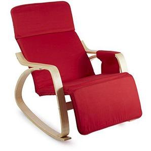 OneConcept Beutlin • Schwingsessel • Schaukelstuhl • Relaxsessel • Liegestuhl • Maße: ca. 68 x 90 x 97 cm (BxHxT) • Birke-Multiplexholz-Rahmen • mit Baumwollbezug • mit Bodenschonern • rot