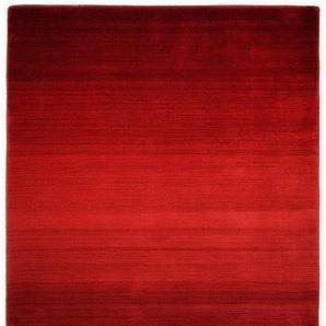 Hochflorteppich handgearbeitet, rot, Theko die Markenteppiche, Material: Schurwolle