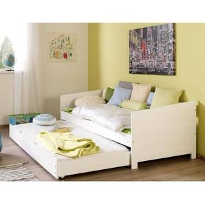 Funktionsbett KOLDING-13 mit Bettschublade massiv weiß lackiert 90 x 200 cm Liegefläche
