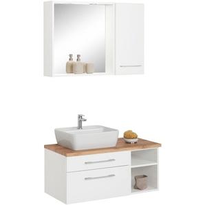 Badmöbel-Set mit Hängeschrank und Spiegel »Davos«, weiß, Becken links, Held Möbel