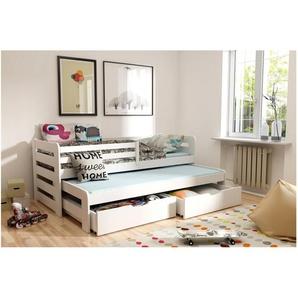 JUSTyou Kobi Funktionsbett Jugendbett Kinderbett Einzelbett  Weiß 80x160 cm
