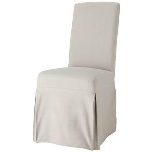 Stuhlbezug lang aus Baumwolle, hellgrau Margaux