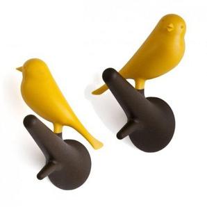 Unbekannt Qualy QL10067BR-Y Wandhaken 2 Stück/Pack Hook Sparrow, braun/gelb