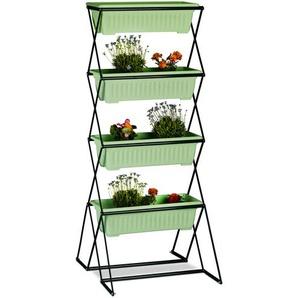 Relaxdays Vertikalbeet mit 4 Blumenkästen