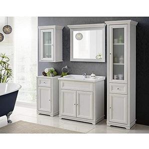 Lomadox Bad-Möbel Komplett Set 5-teilig ? Andersen Pine weiß im Landhausstil ? 80 cm Waschtischunterschrank inkl Keramikwaschbecken ? Spiegel, Hochschrank, Unterschrank und Hängeschrank