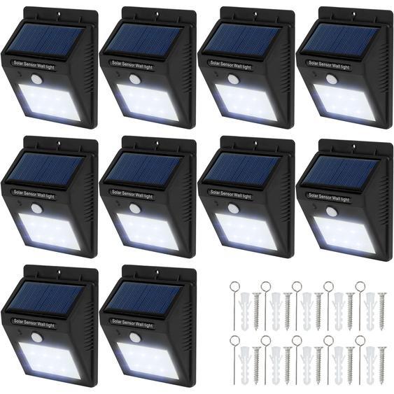 10 LED Solar Leuchten mit Bewegungsmelder - schwarz