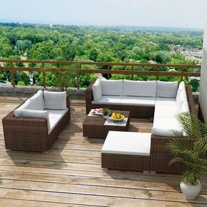 10-tlg. Garten-Lounge-Set mit Auflagen Poly Rattan Braun - VIDAXL