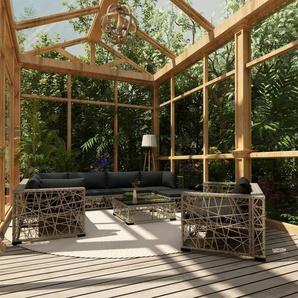 10-tlg. Garten-Lounge-Set mit Auflagen Poly Rattan Grau - VIDAXL