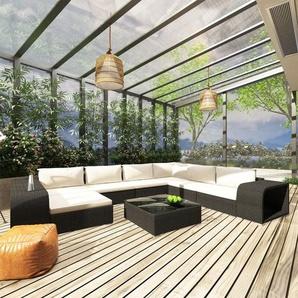 10-tlg. Garten-Lounge-Set mit Auflagen Poly Rattan Schwarz - VIDAXL