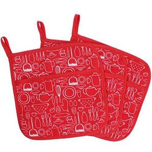 100% Baumwolle Küche Everyday Basic Terry Topflappen hitzebeständig Untersetzer Topflappen für Kochen und Backen 20cmx20cm Set Of 3 Rot