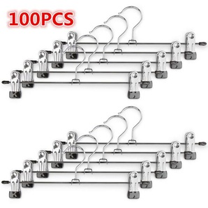100 Stück Kleiderbügel Clip,Klammerbügel Metall,Anti-Rutsch Hosenbügel Metall Kleiderbügel Rockbügel - WYCTIN