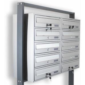 10er Postfach Doppel Edelstahl 10 fach Briefkastenanlage Standbriefkasten System - BITUXX