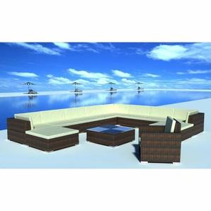 11-Sitzer Lounge Set Jamal aus Polyrattan mit Polster