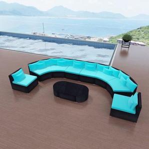 11-tlg. Garten-Lounge-Set mit Auflagen Poly Rattan Blau - VIDAXL