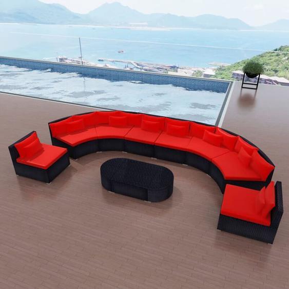 11-tlg. Garten-Lounge-Set mit Auflagen Poly Rattan Rot