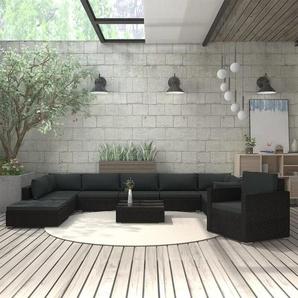 11-tlg. Garten-Lounge-Set mit Auflagen Poly Rattan Schwarz - VIDAXL