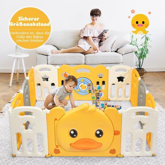 12 Paneele Laufgitter Baby Laufstall faltbar Absperrgitter mit Tür und Spielzeugboard Krabbelgitter Gelb