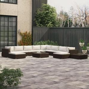 12-tlg. Garten-Lounge-Set mit Auflagen Poly Rattan Braun - VIDAXL