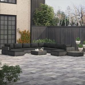 12-tlg. Garten-Lounge-Set mit Auflagen Poly Rattan Grau - VIDAXL