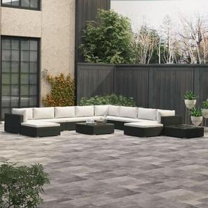 12-tlg. Garten-Lounge-Set mit Auflagen Poly Rattan Schwarz - VIDAXL