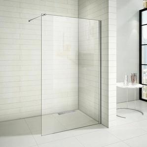 120x200 cm Duschwände 10mm NANO Glas+Stabilisatorstange für die Dusche+Duschrinne - AICA SANITAIRE