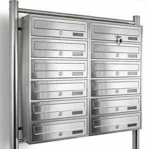 12er Postfach, Doppel Edelstahl Briefkastenanlage 12fach Standbriefkasten System - BITUXX