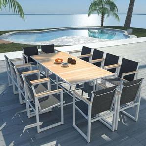 13-tlg. Garten-Essgruppe mit WPC-Tischplatte Aluminium - VIDAXL