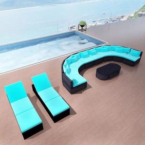 13-tlg. Garten-Lounge-Set mit Auflagen Poly Rattan Blau - VIDAXL