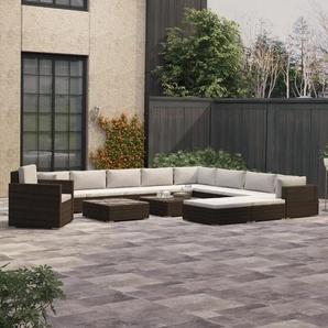 13-tlg. Garten-Lounge-Set mit Auflagen Poly Rattan Braun - VIDAXL