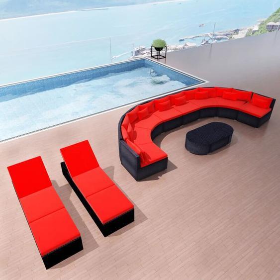 13-tlg. Garten-Lounge-Set mit Auflagen Poly Rattan Rot