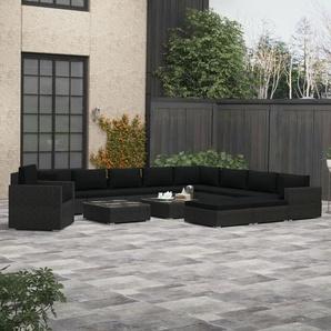 13-tlg. Garten-Lounge-Set mit Auflagen Poly Rattan Schwarz - VIDAXL