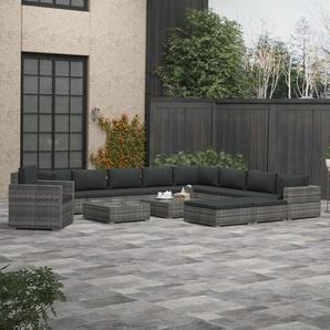 13-tlg. Garten-Lounge-Set mit Polstern Poly Rattan Grau - VIDAXL
