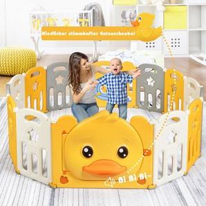 14 Paneele Laufgitter Baby Laufstall faltbar Absperrgitter mit Tür und Spielzeugboard Krabbelgitter Gelb