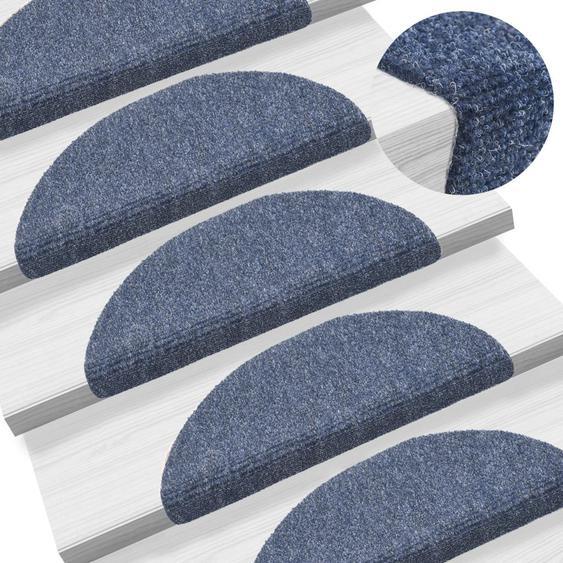 15-tlg Selbstklebende Treppenmatten Nadelvlies 54x16x4cm Blau